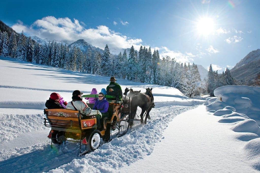 Pferdeschlittenfahrt im Winterurlaub in Wagrain-Kleinarl, Salzburger Land